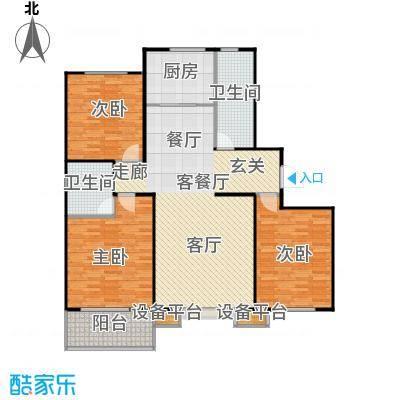 盛和嘉园139.00㎡B户型三室两厅两卫户型3室2厅2卫