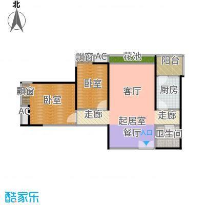 新兴骏景园三期天第79.71㎡在售B-01户型 2室2厅1卫 3.8米客厅 独立餐厅户型2室2厅1卫