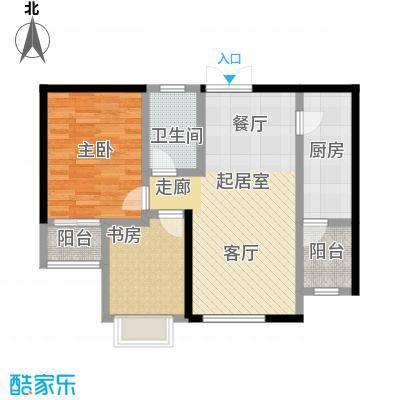宏润・翠湖天地55.86㎡E2户型2室1厅1卫