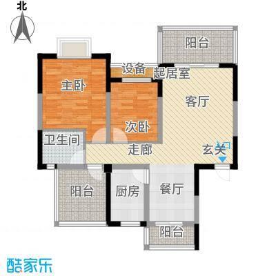 名门外滩91.46㎡8C3两室两厅单卫三阳台户型