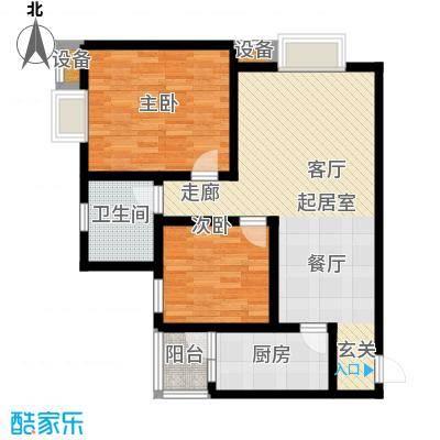 名门外滩77.55㎡F1两室两厅两卫阔景舒居房户型