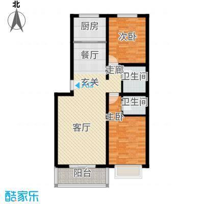 博雅A区103.25㎡F户型两室两厅两卫户型2室2厅2卫