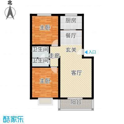 博雅A区104.14㎡N户型两室两厅一卫户型2室2厅1卫