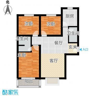 博雅A区103.00㎡R户型三室两厅两卫户型3室2厅2卫