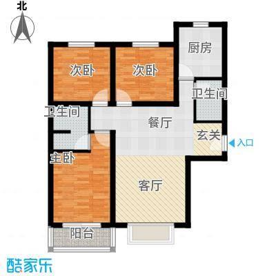 博雅A区100.00㎡R户型三室两厅两卫户型3室2厅2卫