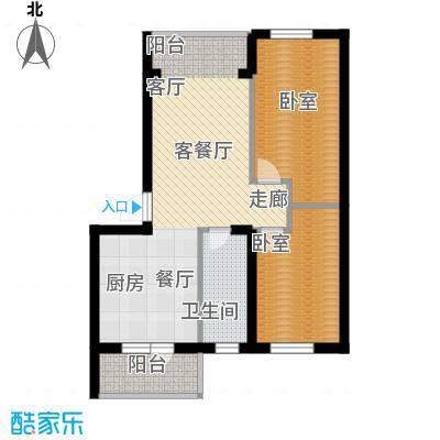 柒零捌零城仕公馆B11户型使用面积62-63平米户型2室2厅1卫