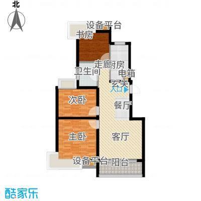 蓝天小区102.00㎡J户型标准层户型3室2厅1卫