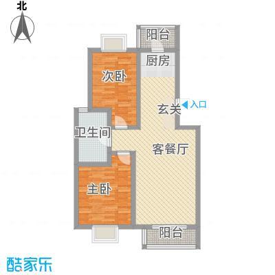 九通家园二期二室二厅一卫-90.87平米户型