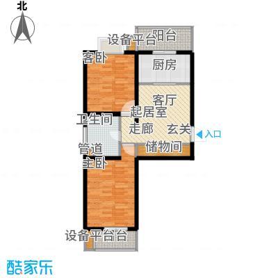 九通家园二期二室一厅一卫-78.75平米户型