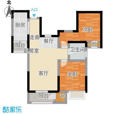 融科金月湾88.00㎡E二室二厅一卫户型
