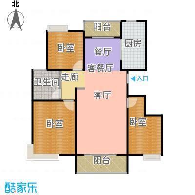 城发花园121.45㎡B户型3室2厅1卫