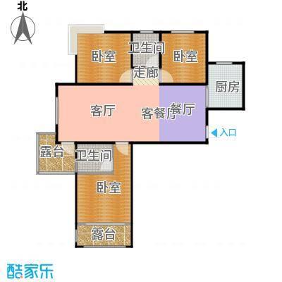 城发花园119.61㎡E1户型3室2厅2卫