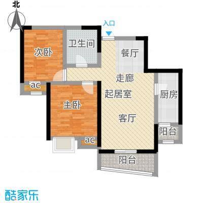 融科金月湾86.00㎡Ga二室二厅一卫户型