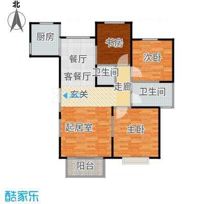 恋日风尚三室二厅二卫121.43平米户型