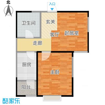 恋日风尚一室一厅一卫58.95平米户型