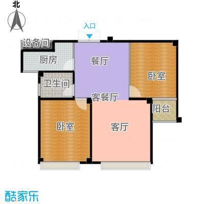 城发花园86.40㎡E户型两室两厅一卫户型2室2厅1卫