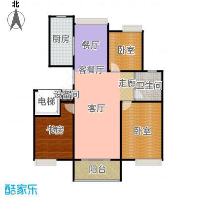 城发花园89.70㎡C户型三室两厅一卫户型3室2厅1卫