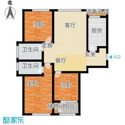 悦来新城44#134平三室两厅两卫户型