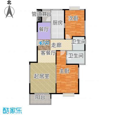 恋日风尚10号楼1门01-2门02-两室两厅户型