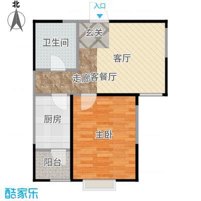 恋日风尚16号楼1门02-一室一厅一卫户型