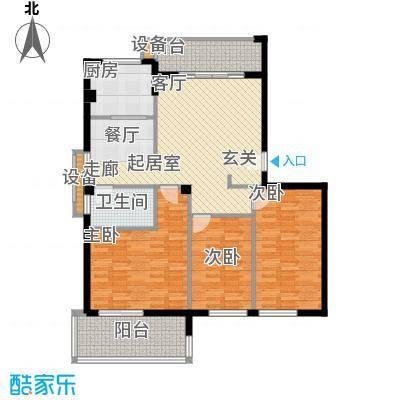 京华观邸114.32㎡8-11号楼 1号户型 三室两厅一卫户型