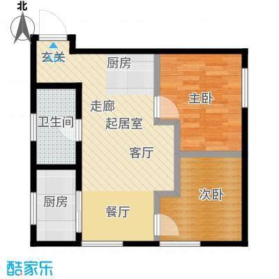 莫比国际74.52㎡G6户型2室1厅1卫
