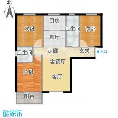 直隶尚都121.00㎡A-三室两厅两卫户型3室2厅2卫