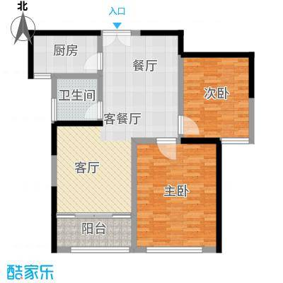晓庄国际广场86.00㎡C风尚户型2室1厅1卫1厨