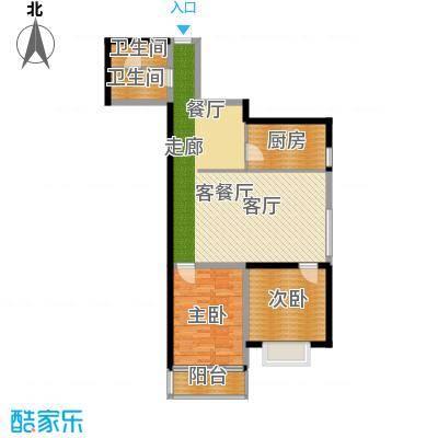 翰林雅居93.72㎡两室两厅一卫户型