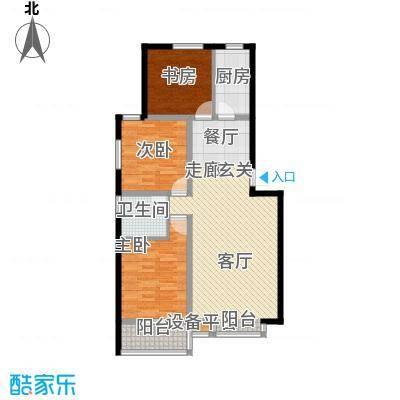 丽景蓝湾105.20㎡三室两厅一卫户型