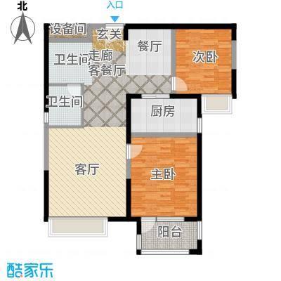 荣盛兰亭苑102.41㎡1/2号楼C户型2室1厅1卫1厨