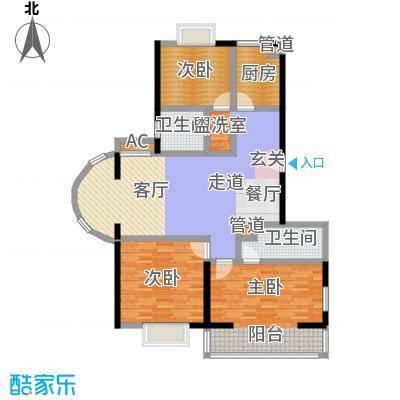 爱达花园紫藤园户型3室2卫1厨