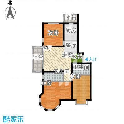 群力观江国际三室二厅使用面积97.47平米户型3室2厅