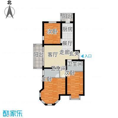 群力观江国际三室二厅使用面积88.10平米户型3室2厅