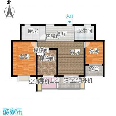 翰林世家12号楼E2-2奇数层户型2室1厅1卫1厨
