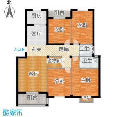 书苑小区户型4室2卫1厨