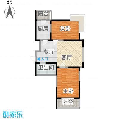 虹畔馨苑6-8号楼2门03单元F1标准层二室一厅户型