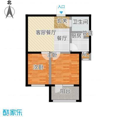 七星九龙湾67.67㎡F户型 两室两厅一卫户型2室2厅1卫