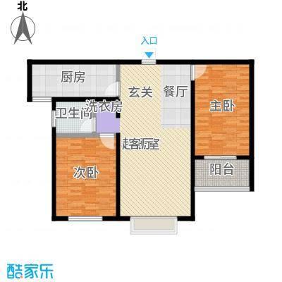 锦绣城95.00㎡两室两厅一卫户型