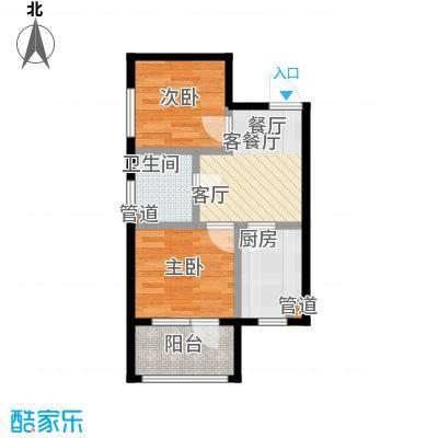 七星九龙湾55.16㎡E户型 两室一厅一卫户型2室1厅1卫