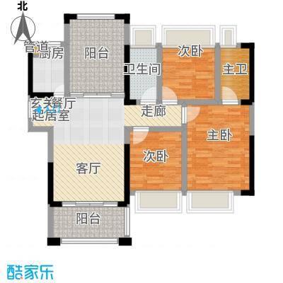 宁海世纪城100.00㎡三期星河湾畔4栋B户型3室2厅2卫