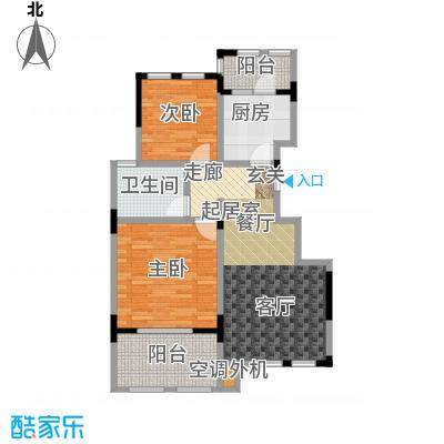 中大诺卡小镇88.00㎡三期1#、6#楼 A-4户型2室2厅1卫