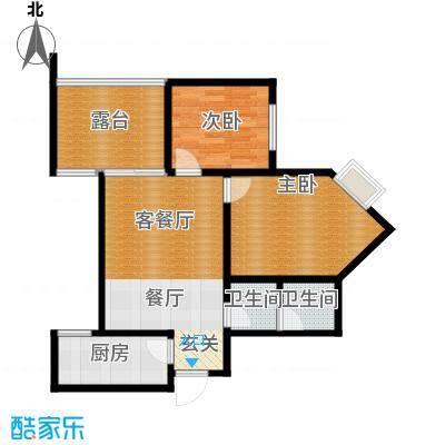 新界长安75.71㎡A户型两室两厅,赠10.8平空中花园 主卧15.46平户型