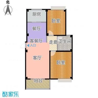 城发花园A户型图两室两厅一卫户型2室2厅1卫