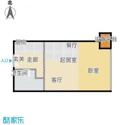 财富中心二期48.14㎡D型结构 1室1厅1卫户型