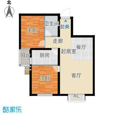 隶都景苑85.00㎡G-两室两厅一卫户型2室2厅1卫