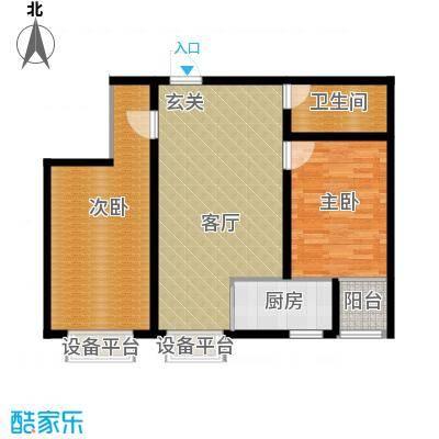 隶都景苑92.30㎡D户型两室两厅一卫户型2室2厅1卫