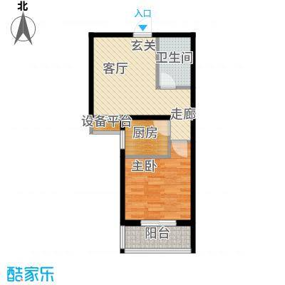 泰和福地水岸55.41㎡E2户型一室一厅一卫户型1室1厅1卫