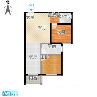 泰和福地水岸77.59㎡E3户型两室两厅一卫户型2室2厅1卫