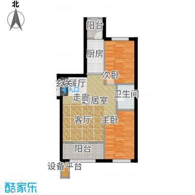 V时代D户型 两室一厅一卫户型2室1厅1卫
